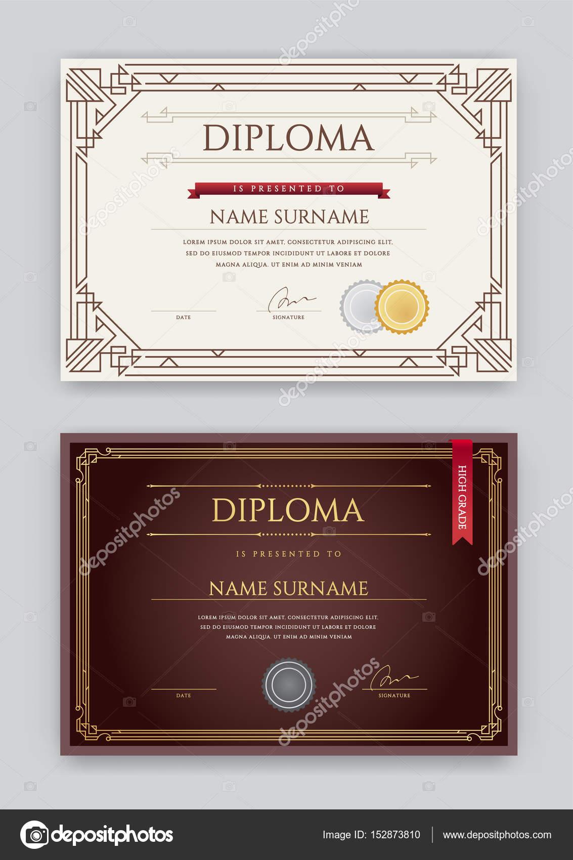 Satz von Diplom oder Zertifikat Vorlage — Stockvektor © ckybe #152873810