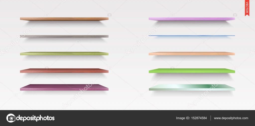 Set of Glass, Wood, Plastic, Metal Shelves — Stock Vector © ckybe ...