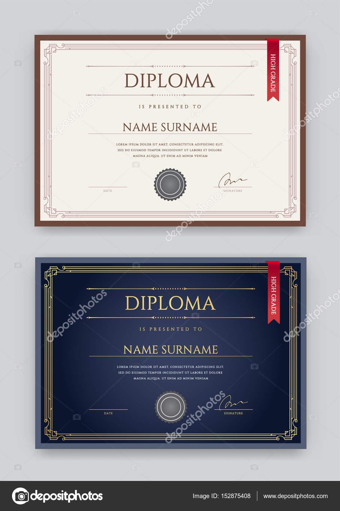 Satz von Diplom oder Zertifikat Vorlage — Stockvektor © ckybe #152875408