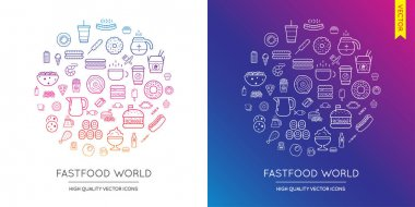 Set of Fast Food Modern Icons