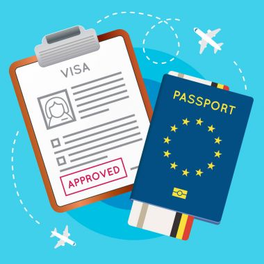 Visa Approved Stamp, Passport and Ticket