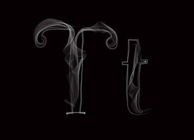 Vector Smoke or Haze Letter Font Type, two letters TT stock vector