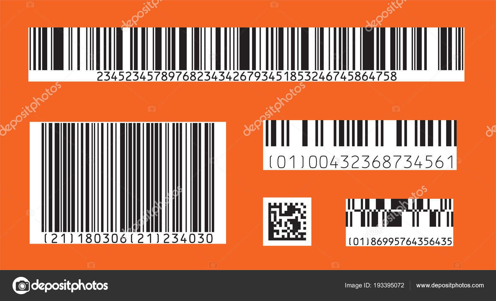 Barcode Symbol Satz Von Modernen Flachen Barcode Als Vorlage Für ...