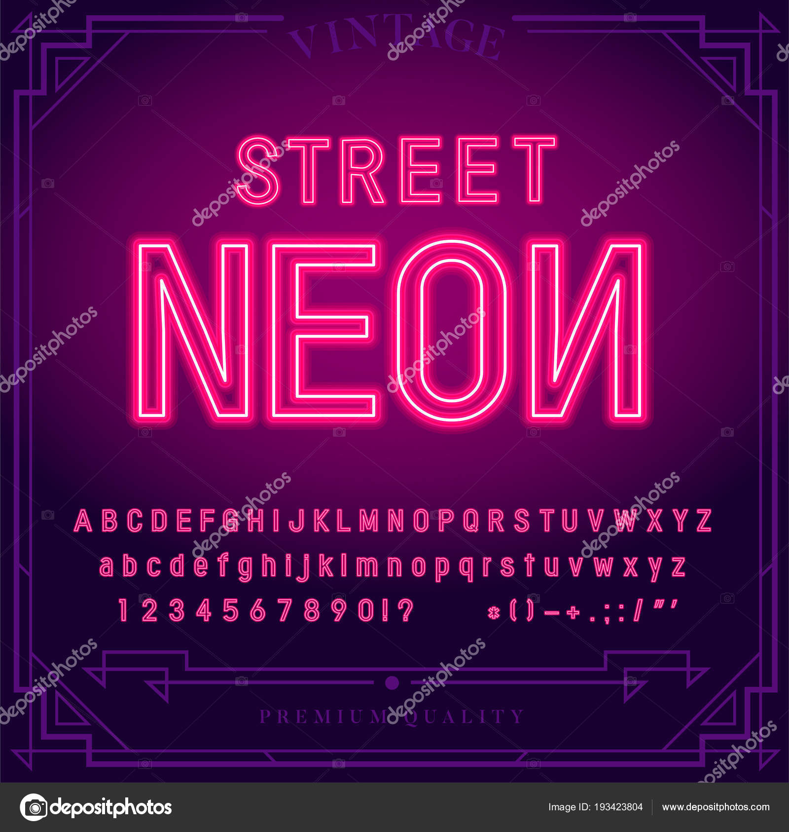 Bright Neon Alphabet Letters Numbers Symbols Sign Vector Night Show