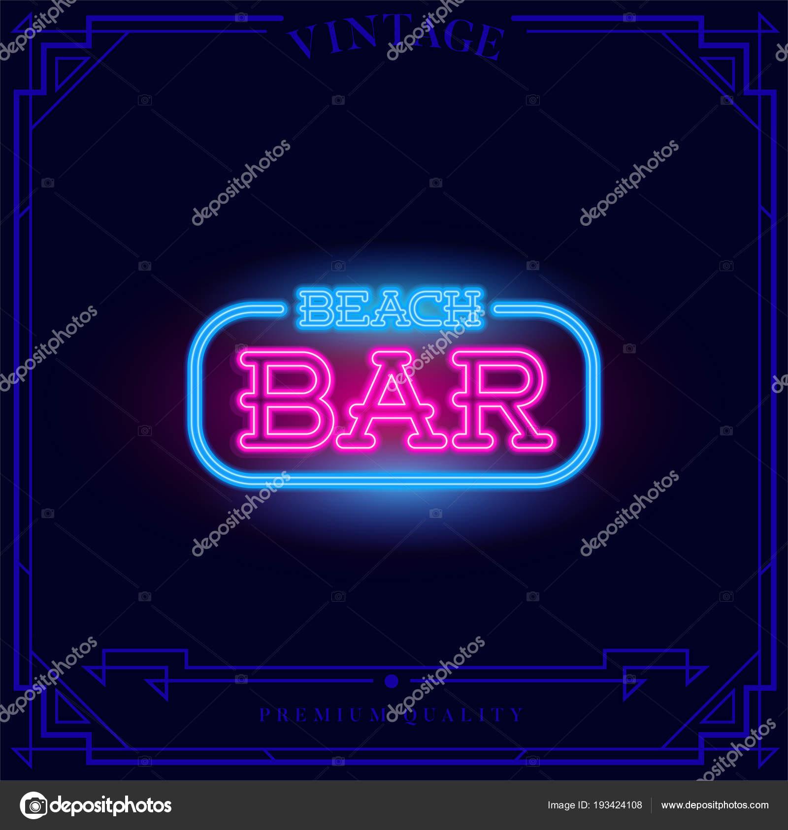 Beach bar neon light sign vector illustration stock vector ckybe beach bar neon light sign vector illustration stock vector mozeypictures Choice Image