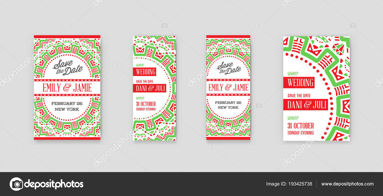 set vector design awesome wedding invitation template mandala