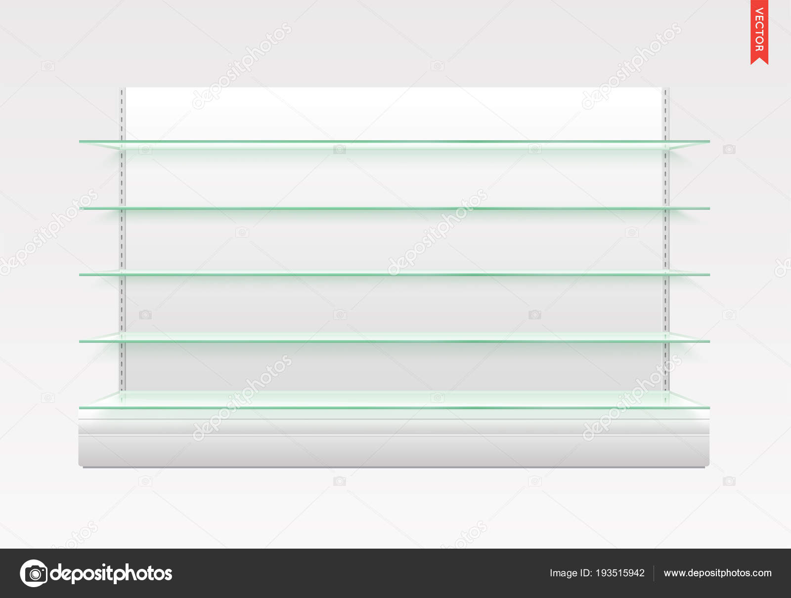 set long glass shelves vector isolated metal back background stock rh depositphotos com long glass wall shelves long glass shelf brackets