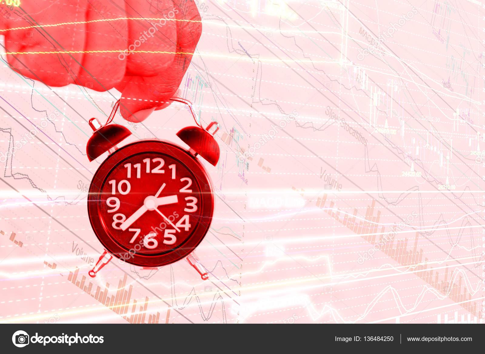 Abstrakte Hand, die Uhr auf der Börse chart — Stockfoto © karnstocks ...