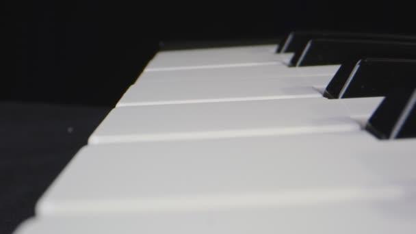 Makro-Nahaufnahme, die sich durch Klaviertasten bewegt