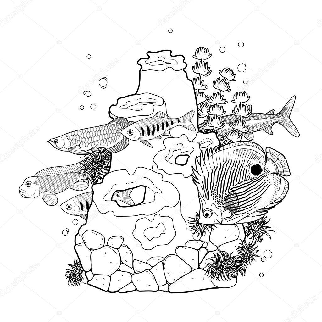 Peces de acuario gráfico con arrecife de coral — Vector de stock ...