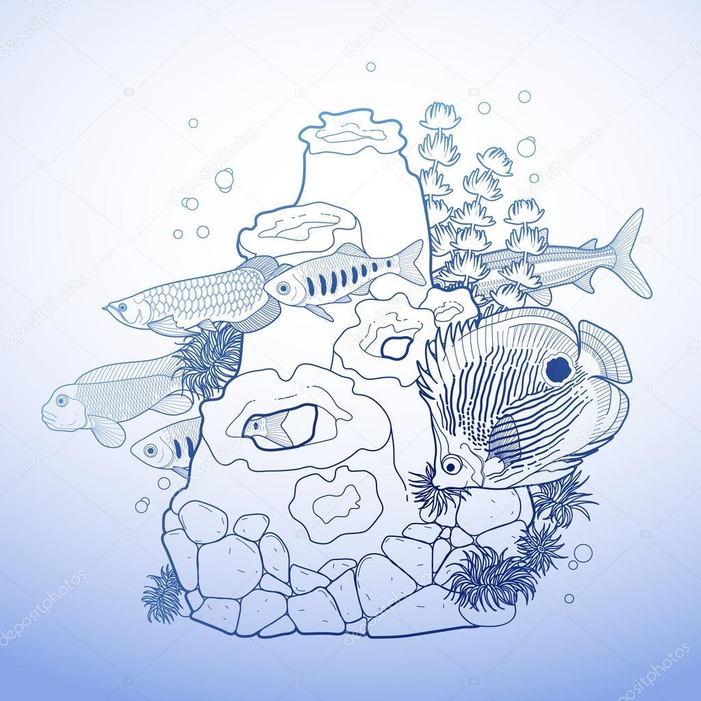 Graphic aquarium fish with coral reef