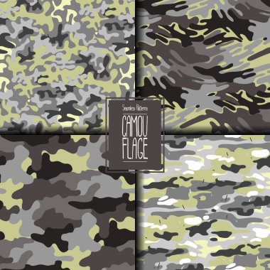 Abstract camouflage seamless pattern set. Trendy fabric design in gray and green colors. clip art vector