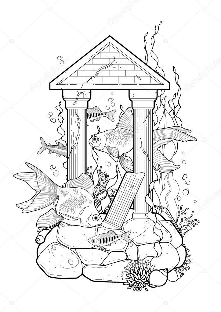 Peces de acuario gráfico con escultura arquitectónica — Archivo ...