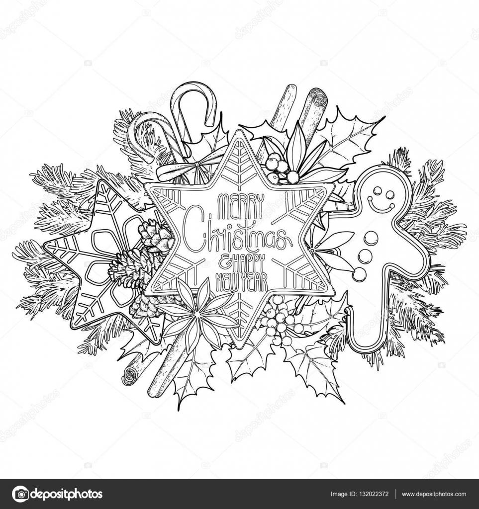 Pan de jengibre tarjeta gráfica de Navidad — Vector de stock ...