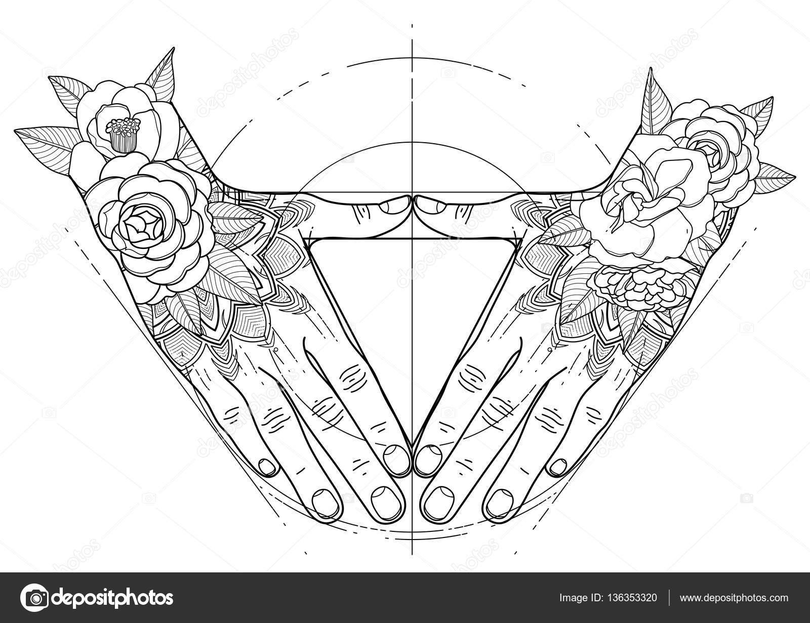 Gráfico de las manos en forma de triángulo — Archivo Imágenes ...