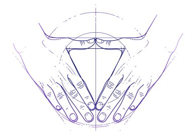 Graphic hands in the shape of triangle