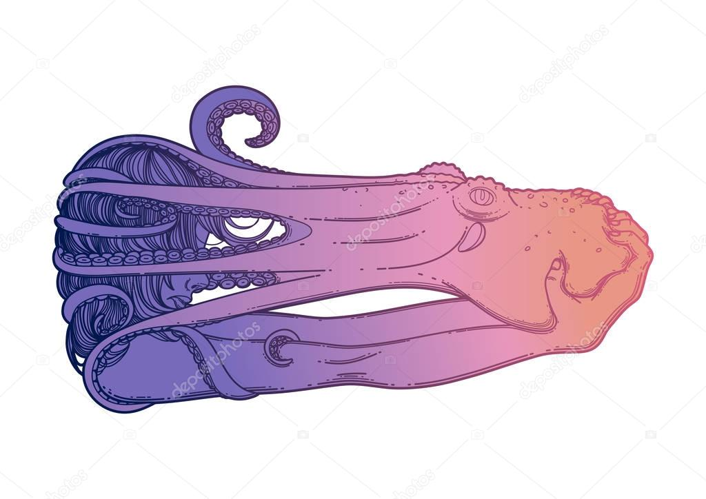 Graphic girl with octopus