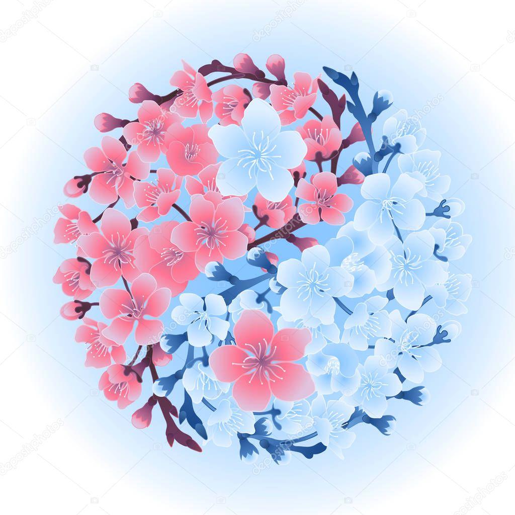 Yin Yang made of sakura