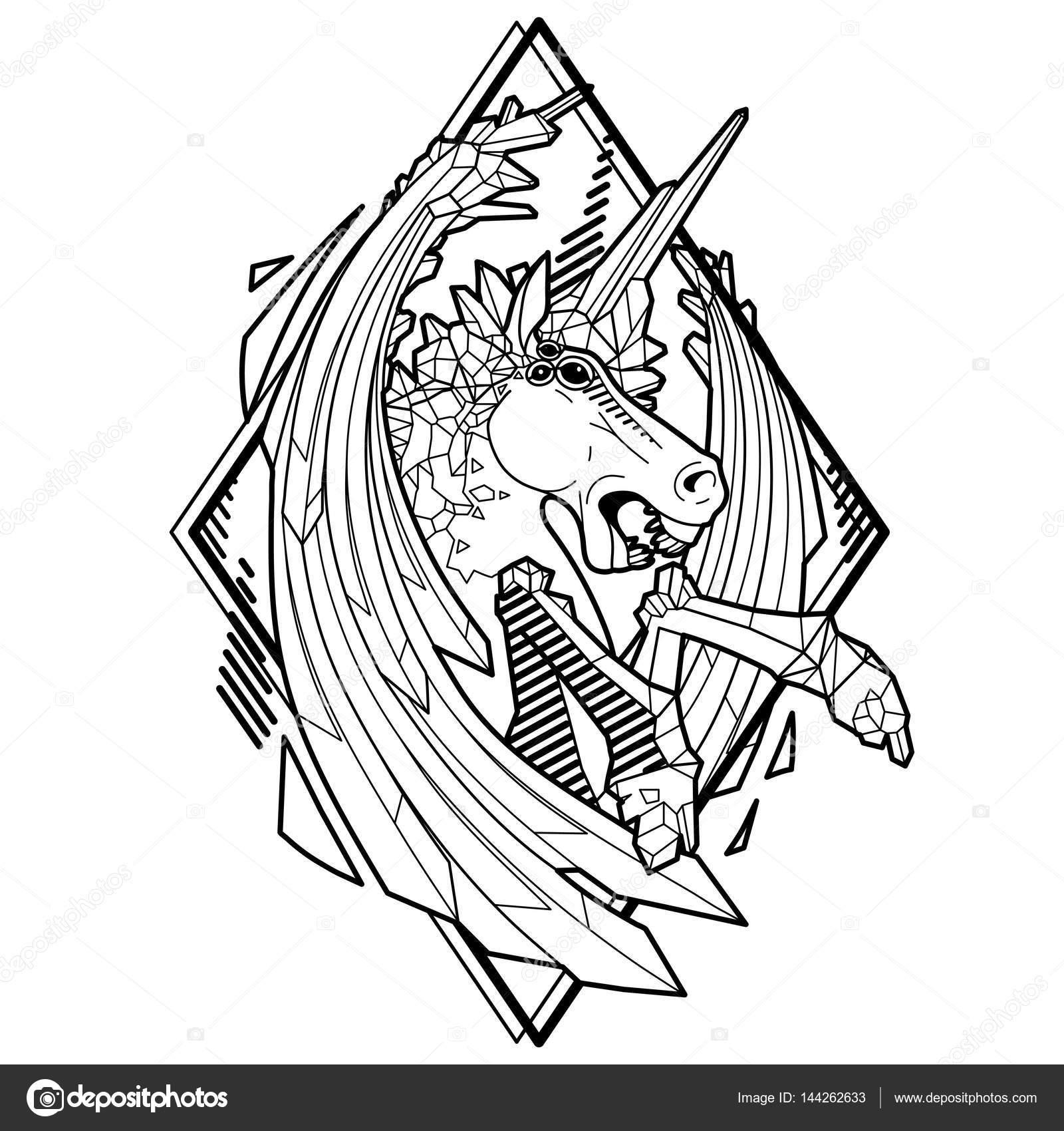 Gráfico unicornio demoníaca — Archivo Imágenes Vectoriales ...
