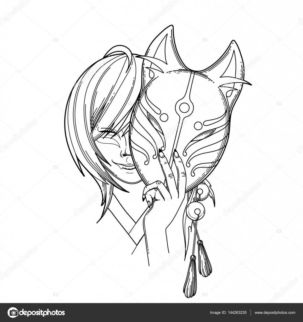 Zorro demonio japonés — Vector de stock © homunkulus28 #144263235
