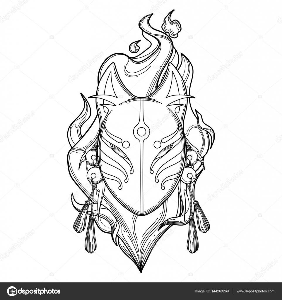 Maschera Di Grafico Demone Volpe Vettoriali Stock Homunkulus28