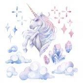 Photo Cute watercolor unicorn