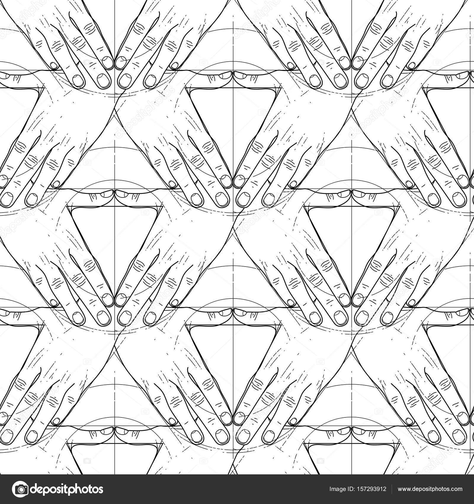 Gráfico de las manos en forma de triángulo — Vector de stock ...