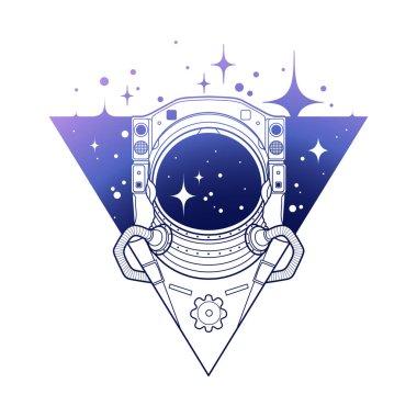 Graphic austronaut in triangle