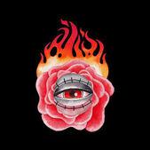 Fényképek Akvarell lángoló virág és a mindent látó szem
