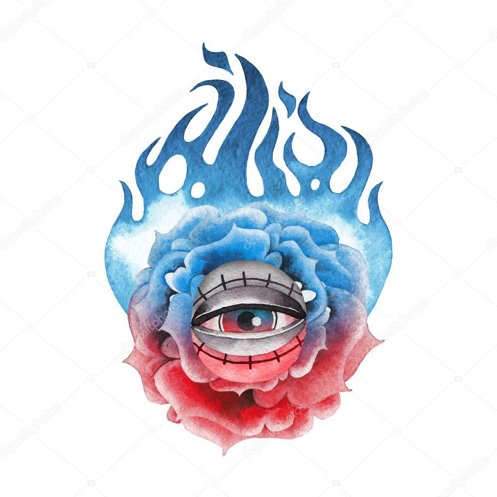 Watercolor flaming flower and all-seeing eye