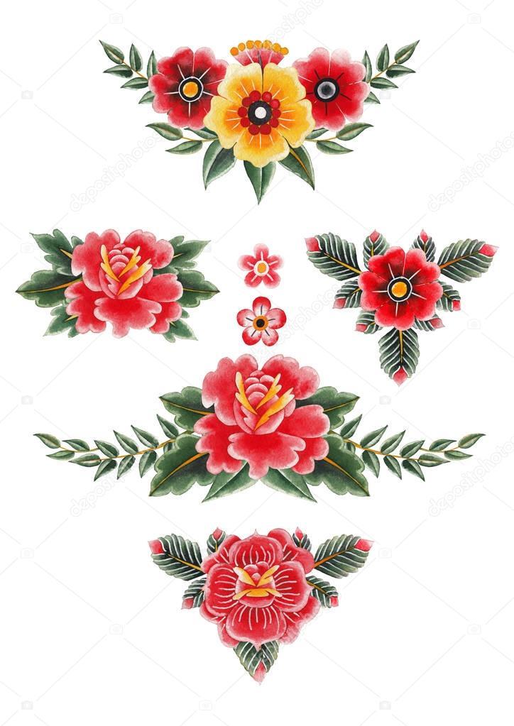 Watercolor floral vignettes