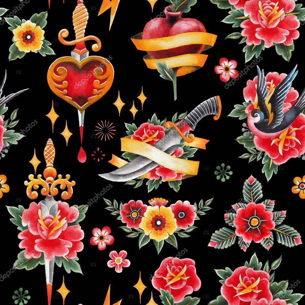 Watercolor old school pattern