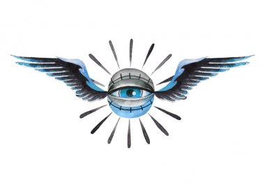 Watercolor winged all-seeing eye