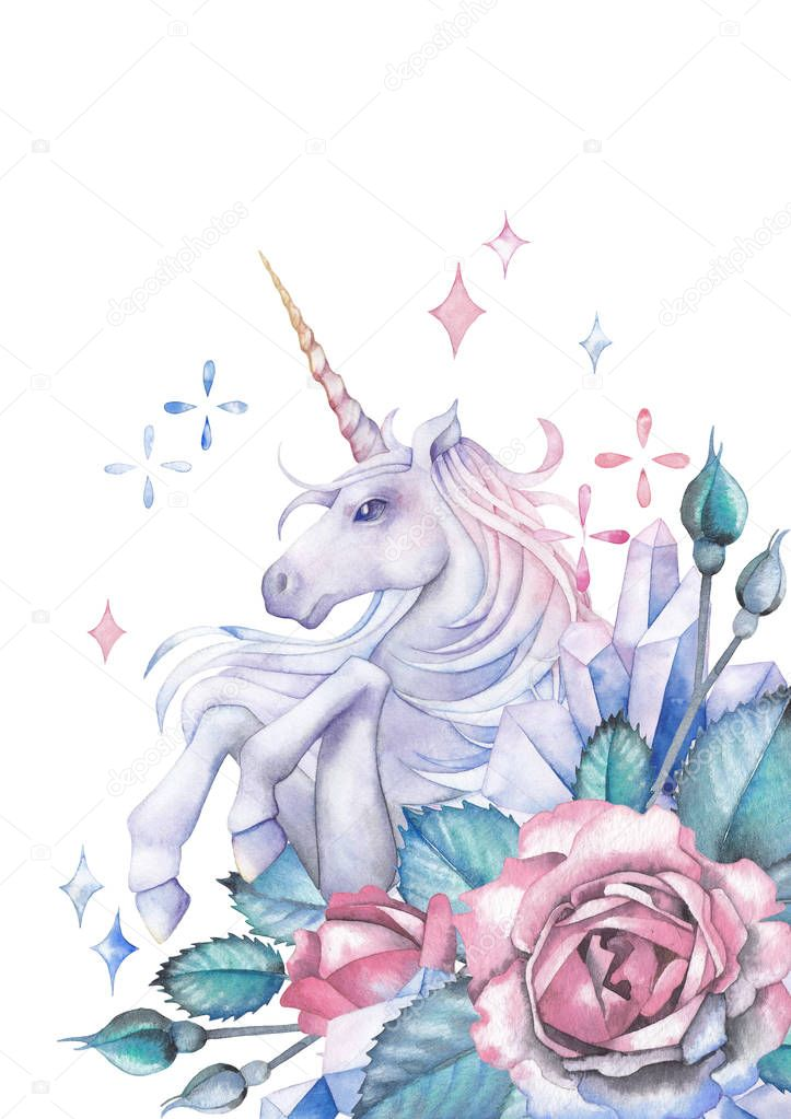 Watercolor unicorn decorated with roses and crystals