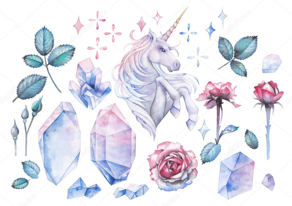 Watercolor design with unicorn and rose vignette