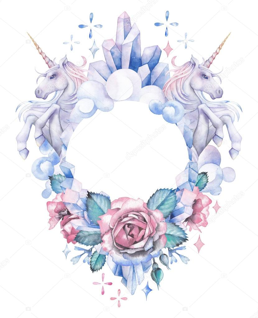 Watercolor design with unicorns, crystals, roses and clouds
