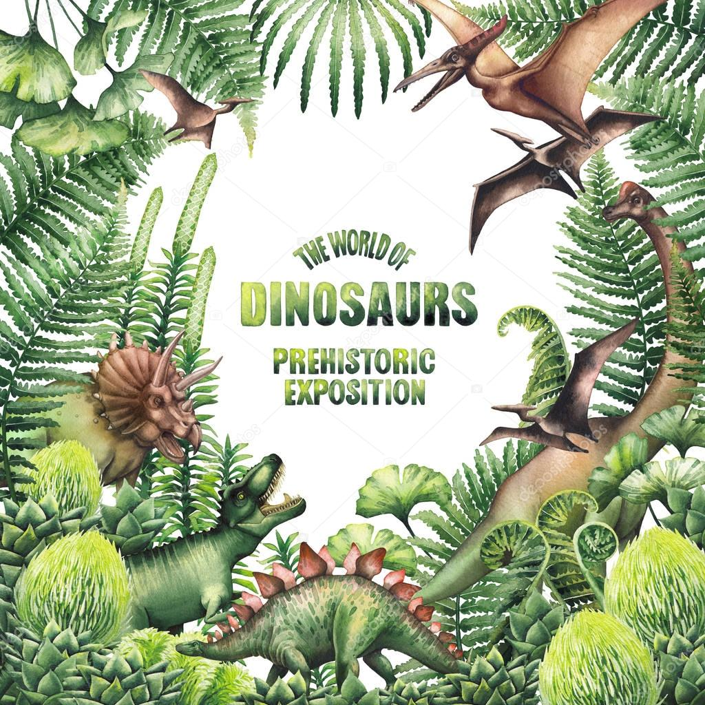 Watercolor design with prehistoric plants and dinosaurs