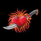Fényképek Akvarell lángoló szív késsel