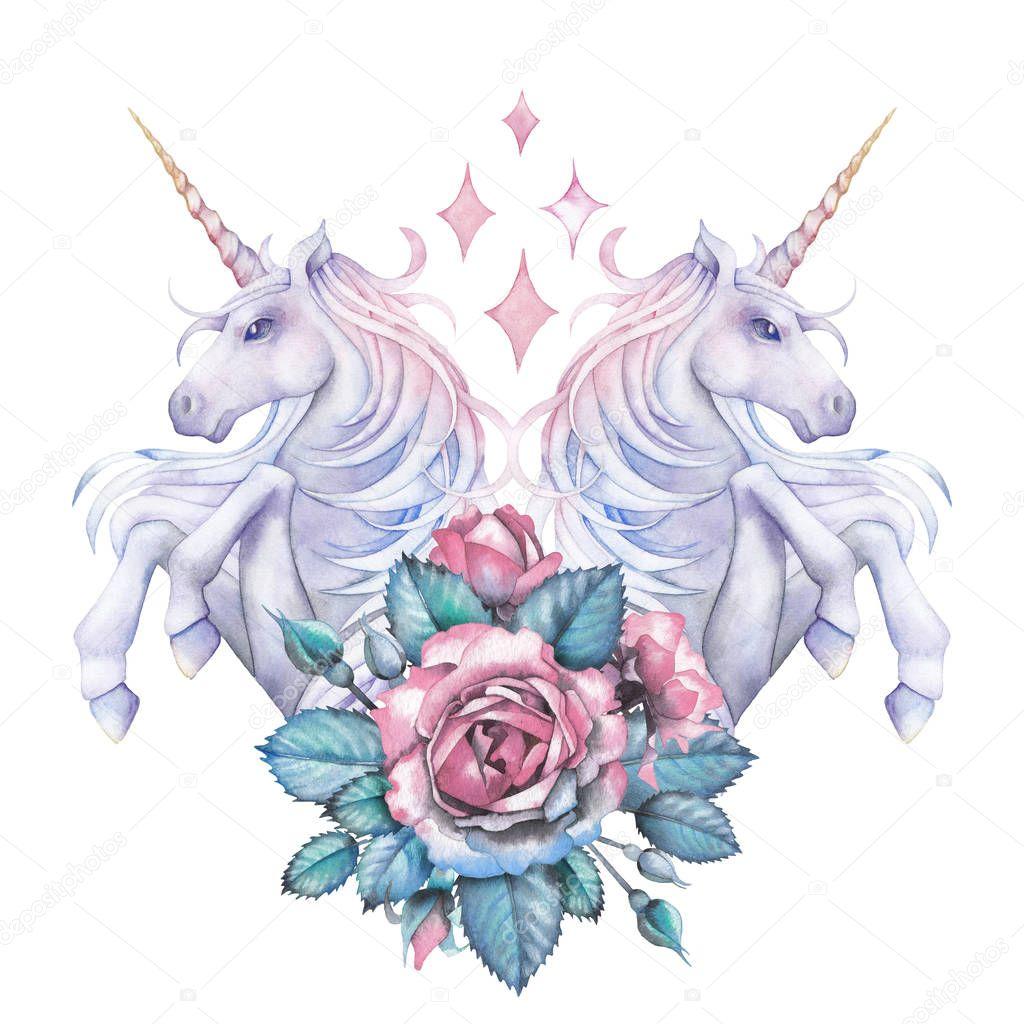 Watercolor design with unicorns and rose vignette