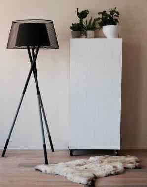 Zwarte vloerlamp + witte moderne kast en decoratie