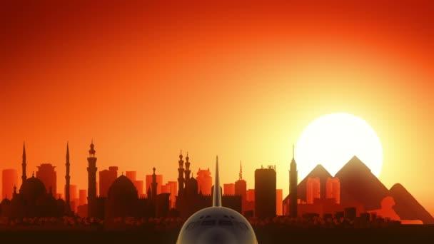 Cairo Egypt letadlo vzlétnout Panorama zlaté pozadí