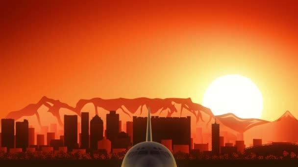 Kapstadt Südafrika Flugzeug hebt ab Skyline goldenen Hintergrund