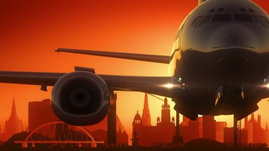 Glasgow Airplane Take Off Skyline Golden Background