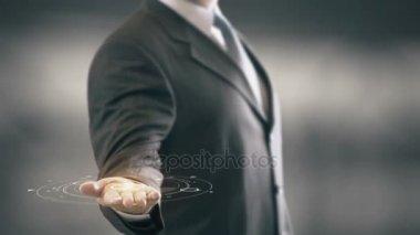 Original Businessman Holding in Hand New technologies