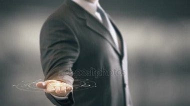 Standards Businessman Holding in Hand New technologies