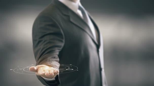Horní tajné podnikatel drží v ruce nových technologií
