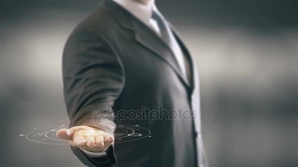 Real Estate Holding Geschäftsmann in Hand neue Technologien