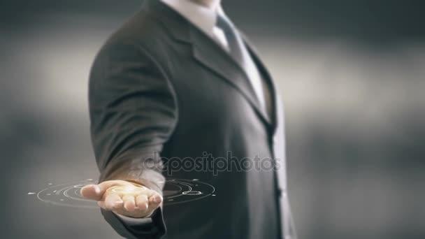 Influencer mit Hologramm Geschäftsmann Konzept