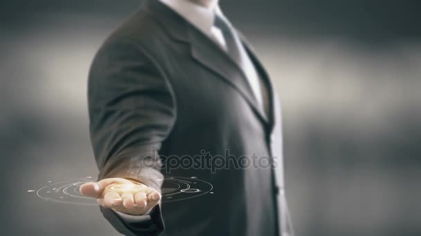 denkt große Tat klein mit Hologramm Geschäftsmann Konzept