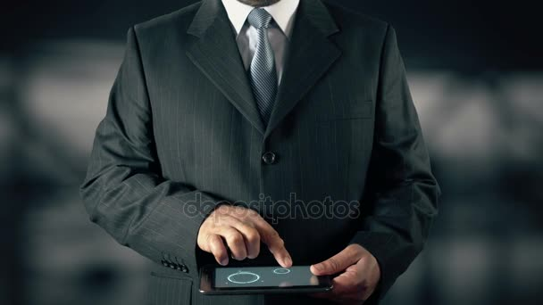 Businessman with Business Ethics hologram concept choose Behavior from words